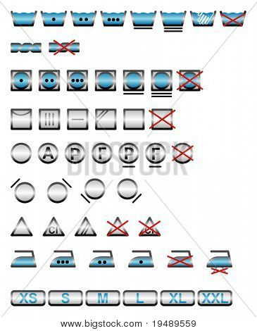 Icon Set of washing symbols / cmyk color / vector