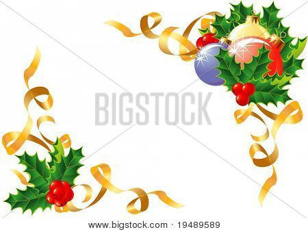 Christmas decoration/ Holly, balls and ribbon / vector / The layers are separated