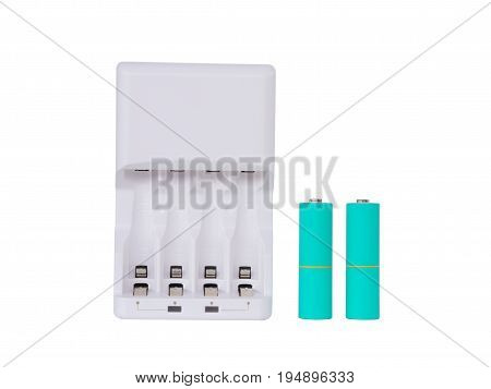 White Battery charger and sky blue color AA batteries isolated on white background. clipping path.