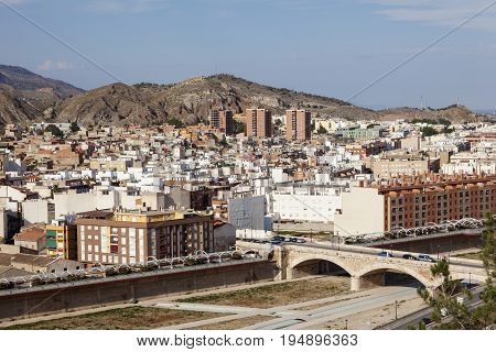 Panoramic view over the city of Lorca. Province of Murcia Spain