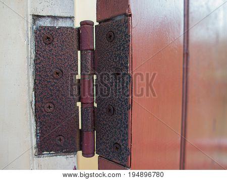 (Close up) Old door hinges Interior Design.