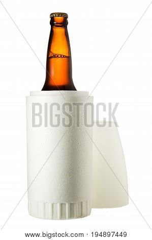 Styrofoam Beer Holder Isolated On White Background