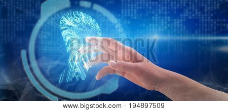 Close-up of cropped hand on white background against human face against circuit board