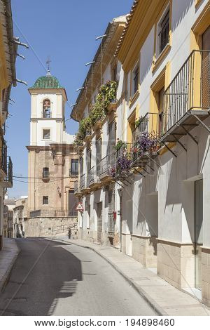 Typical street in the historic town of Lorca. Province of Murcia Spain
