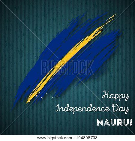 Nauru Independence Day Patriotic Design. Expressive Brush Stroke In National Flag Colors On Dark Str