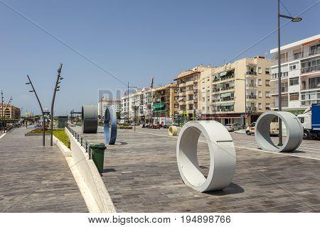 San Pedro de Alcantara Spain - June 1 2017: Promenade in the city of San Pedro de Alcantara. Malaga Province Andalusia Spain