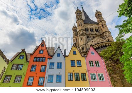 Old Buildings And Church In Cologne, Germany