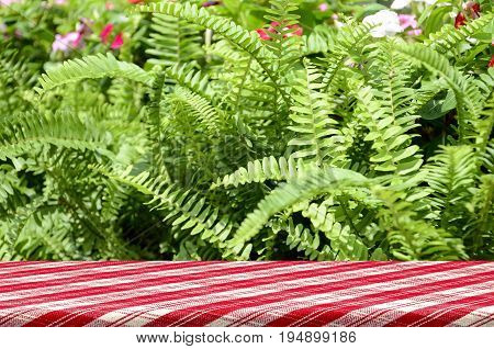 Picnic Table With Green Garden Background.