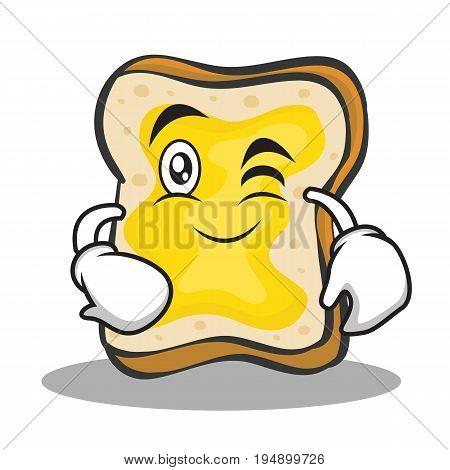 Wink face bread character cartoon vector illustration