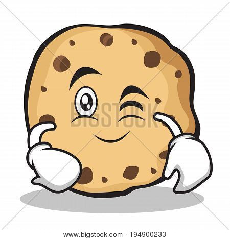 Wink face sweet cookies character cartoon vector illustration