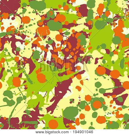 Maroon orange yellow green artistic ink paint splashes seamless pattern vector