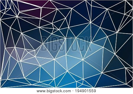 Deep and pale blue abstract low poly geometric background with white triangle mesh.