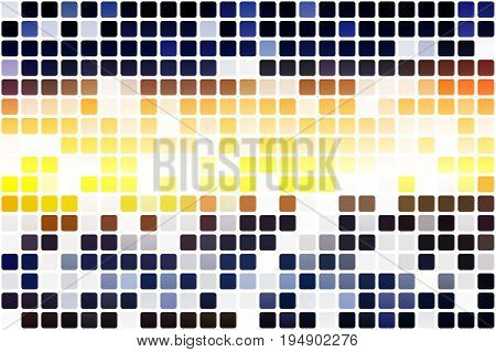 Blue yellow orange black occasional opacity vector square tiles mosaic over white background