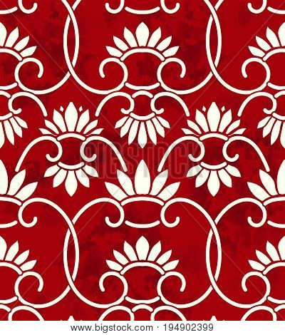 Seamless Vintage Chinese Background Retro China Spiral Curve Cross Vine Cross Flower