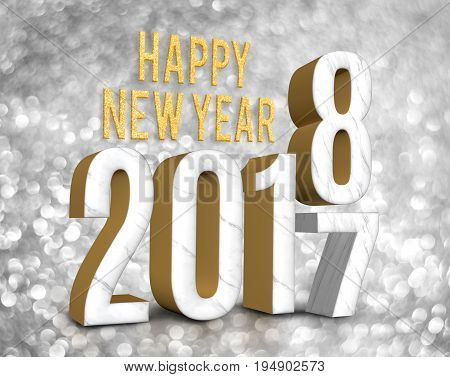 Happy New Year 2018 (3D Rendering)  Change Year From 2017 On Silver Glitter Bokeh Lights Background,