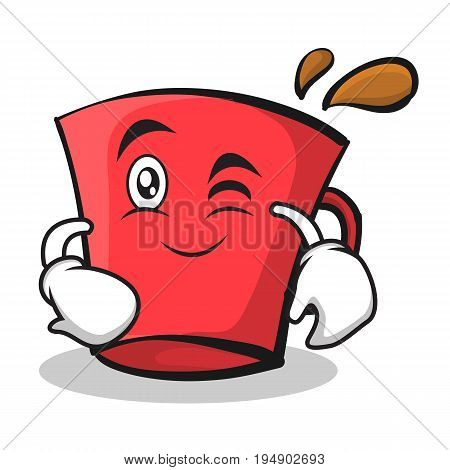 Wink red glass character cartoon vector illustration