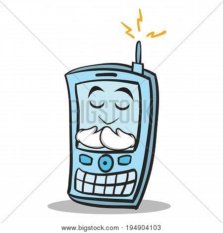 Praying face phone character cartoon style vector illustration