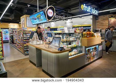 SEOUL, SOUTH KOREA - CIRCA MAY, 2017: inside a convenience store in Seoul.