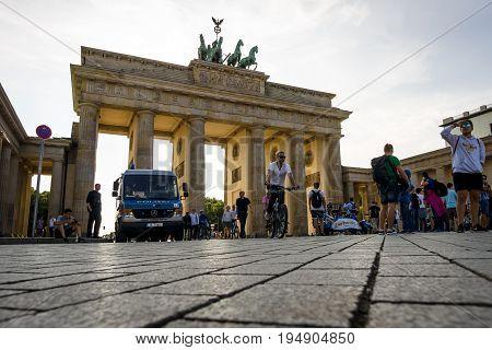 BERLIN - JULY 09 2017: The famous symbol of Berlin - Brandenburg vorotama and Pariser Platz.