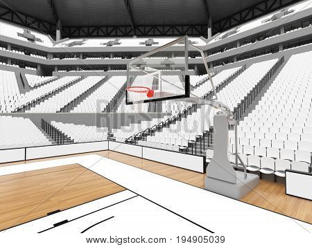 Large Modern Basketball Arena With White Seats