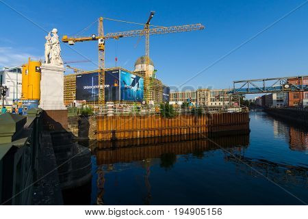 BERLIN - JULY 09 2017: Restoration of the Berlin City Palace (Berliner Stadtschloss) on the site of the previously destroyed historic building in 1945.