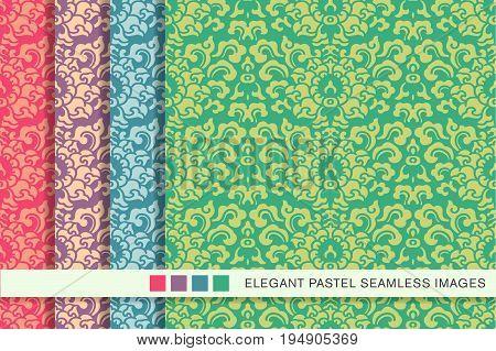 Elegant Seamless Pastel Background Set Sprial Curve Leaf Flower