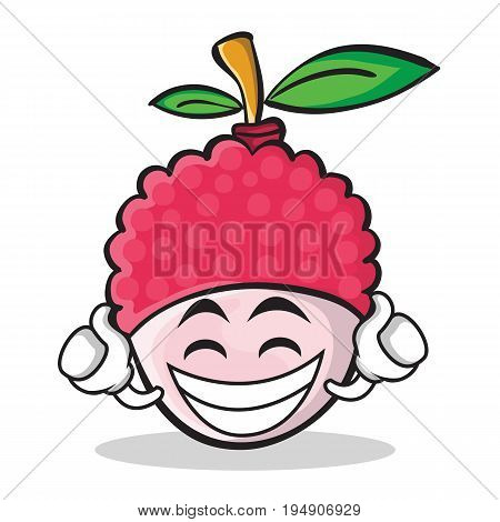 Proud lychee cartoon character style vector illustration