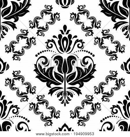 Classic seamless vector pattern. Traditional orient ornament. Classic vintage black and white background