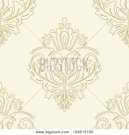 Orient vector classic golden dotted pattern. Seamless abstract background with repeating elements. Orient background
