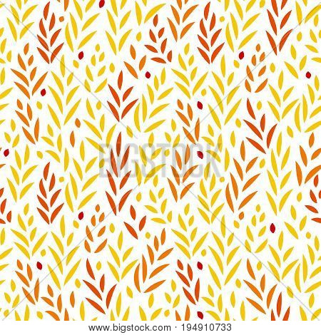 Subtle golden yellow and red leaves floral seamless pattern on white, vector background