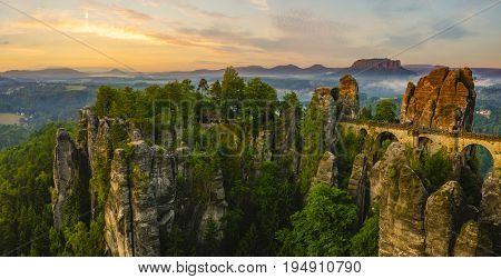 The Bastei bridge Saxon Switzerland National Park Germany