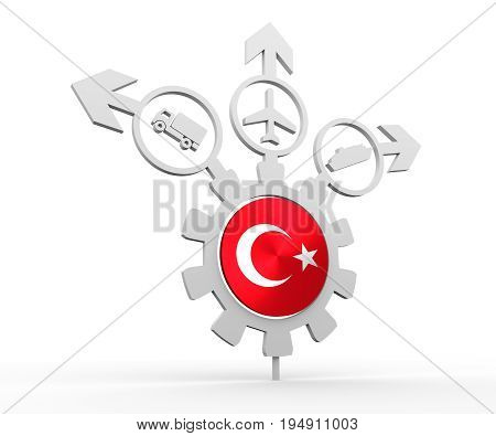 Delivery emblem design. Truck, airplane and ferry boat icons on destination arrows. Flag of the Turkey in the center of gear. 3D rendering