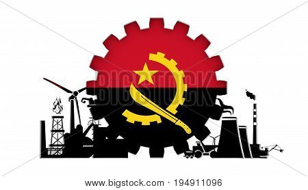 Energy and Power icons set with flag of the Angola. Sustainable energy generation and heavy industry. 3D rendering.