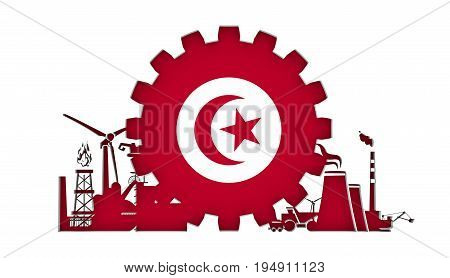 Energy and Power icons set with flag of the Tunisia. Sustainable energy generation and heavy industry. 3D rendering.