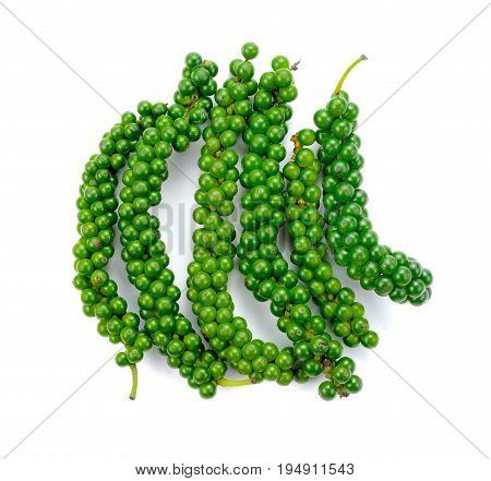 Fresh piper nigrum isolated on a white background green peppercorns