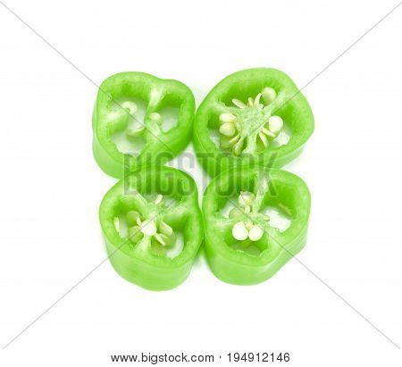 Sliced green pepper isolated on white Chilli slice