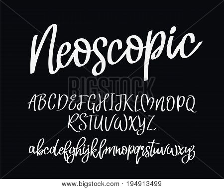 Stylish modern vector font on black background. Uppercase and lowercase letters. Lettering typography calligraphy. English alphabet. Elements for design.
