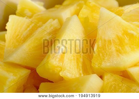 Close up slice fresh pineapple background texture.