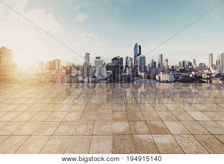 Landscaped Bangkok cityspace in sunrise with empty floor, for background