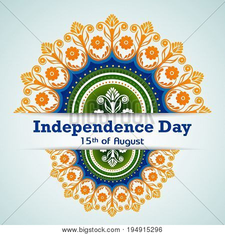 easy to edit vector illustration of Indian Flag tricolor floral design on Happy Independence Day of India background