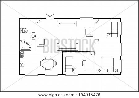building or flat plan with furniture, isolated on white background, stock vector illustration