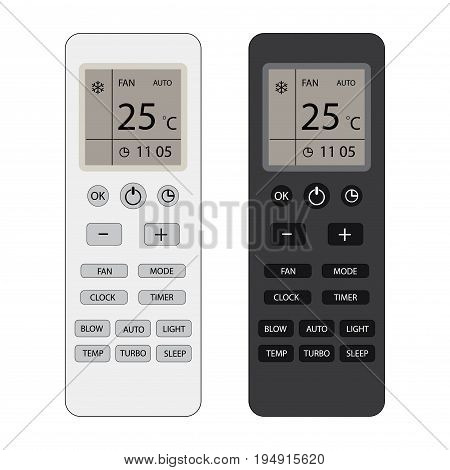 Two Remote control of air conditioner with display , isolated on white background, vector illustration