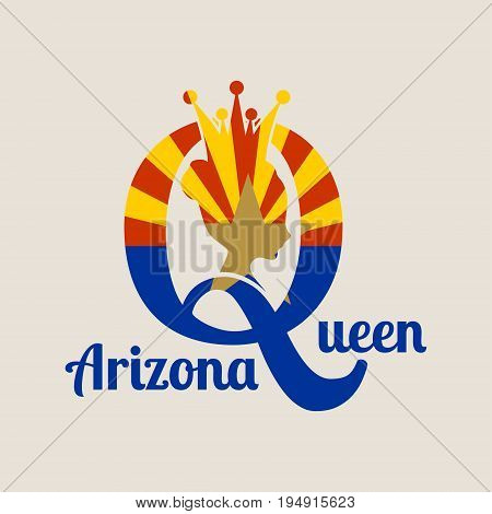 Vintage queen silhouette. Medieval queen profile. Elegant silhouette of a female head. Vector Illustration. Bun hairstyle. Flag of the Arizona state. Royal emblem with Q letter