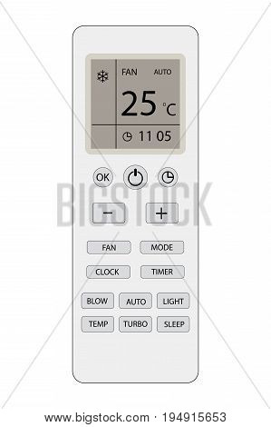 Remote control of air conditioner with display , isolated on white background, vector illustration