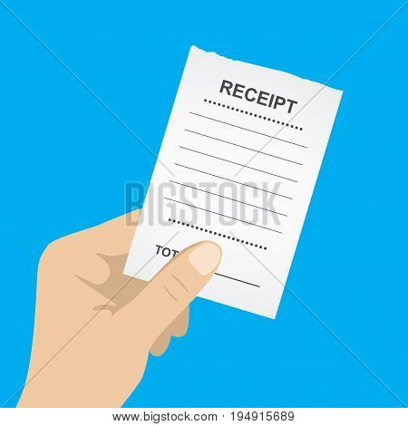 Hand holding blank receipt, isolated on blue background, vector illustration