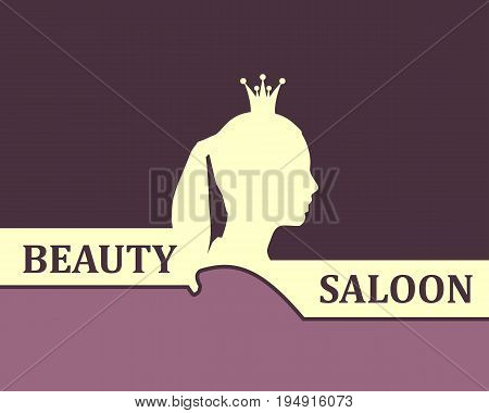 Vintage queen silhouette. Medieval queen profile. Elegant outline silhouette of a female head. Hair saloon emblem design. Royal emblem with Q letter