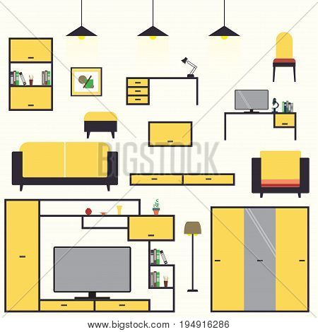 Cartoon set furniture living room interior design: sofa, chairs, bookcase, table, lamps. Flat style vector illustration