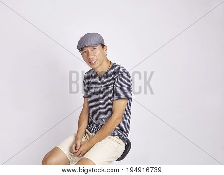 Asian Man Smiling Isolated On White