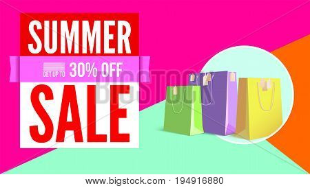 Summer sale flat design poster. Selling ad banner on tricolor flat background with shopping bags. Summer super vacation discount Sale poster, get up to thirty percent, flat geometric design