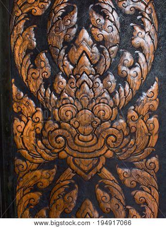 wood carving door, Thai art, Thai pattern